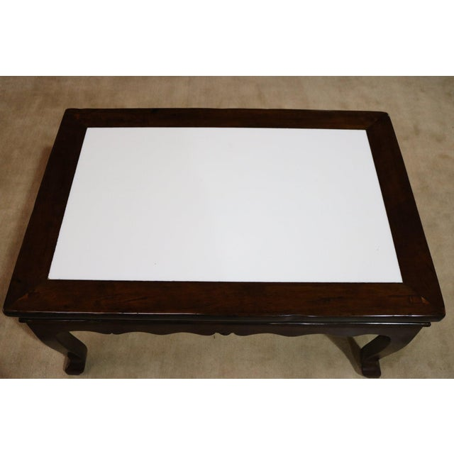 Late 19th Century Walnut Wood Marble Top Low Table For Sale - Image 5 of 6