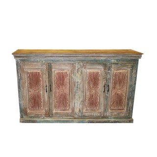 1920s Rustic Carved Credenza For Sale
