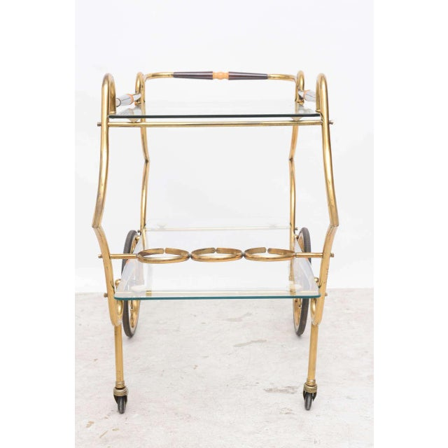 1950s 1950s Italian Brass and Glass Trolley Server For Sale - Image 5 of 10