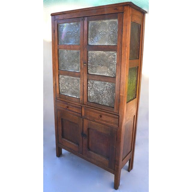 Primitive Antique Walnut/Pine 10 Punched Tin Panel Pie Safe Cabinet For Sale - Image 3 of 10