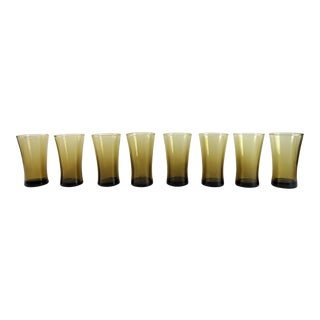 Mid-Century Smokey Brown Highball Goblet Glasses - Set of 8