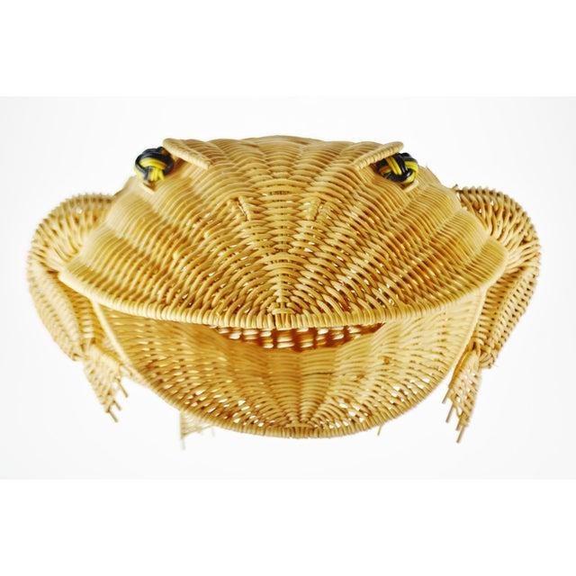 Tan Vintage Natural Wicker Frog Planter Basket For Sale - Image 8 of 13