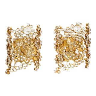 Pair of Gilt Brass and Crystal Glass Encrusted Sconces by Palwa For Sale
