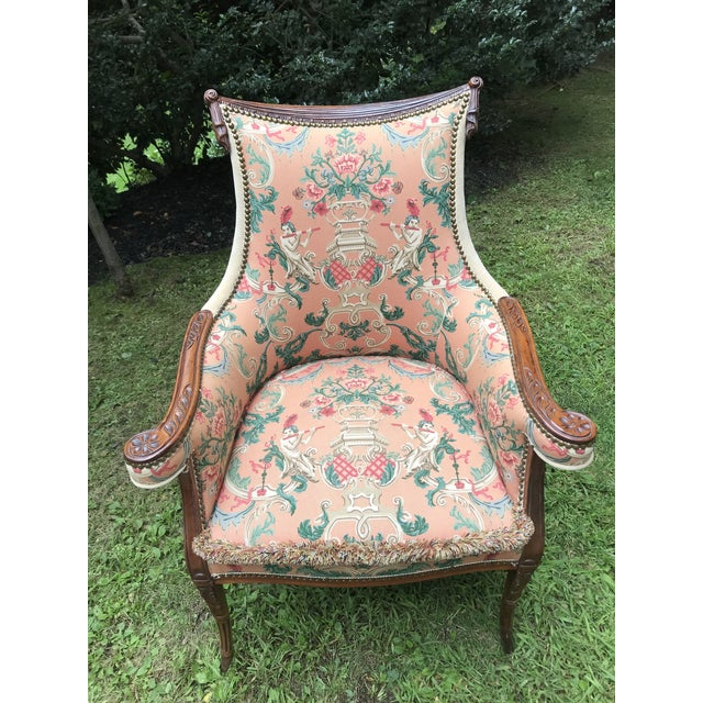 Vintage curved back chairs with just the right amount of detail. Outside upholstered in Schumacher linen velvet and inside...