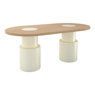 Contemporary 104 Dining Table in Oak and White by Orphan Work, 2020 For Sale