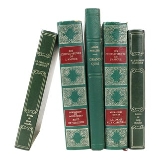 S/5 French Leather Bound Books