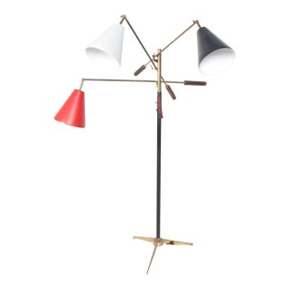 Mid Century Modern Early Triennale Floor Lamp Brass Brown Leather Italy For Sale