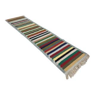 Vintage Turkish Striped Kilim Runner Rug - 2′6″ × 10′9″ For Sale