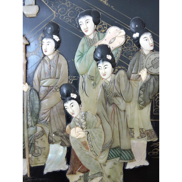 Mid 20th Century Antique Chinese Black Lacquer & Jade Screen / Room Divider, Garden Pavilion & Noble Ladies For Sale - Image 5 of 11