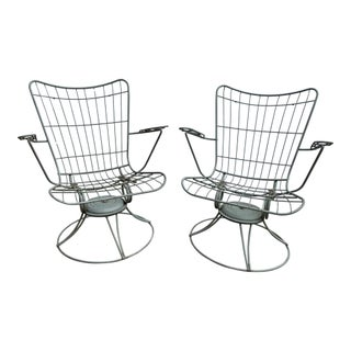 Mid Century Swivel Wrought Iron Lounge Chairs by Homecrest - a Pair For Sale