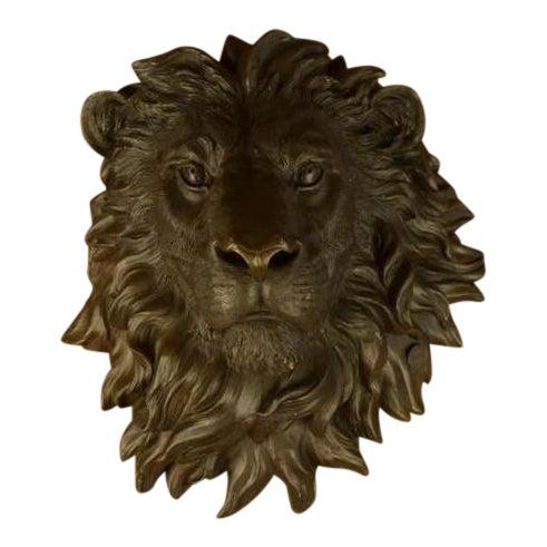 Wall Mount Lion Head Bust Bronze Sculpture For Sale