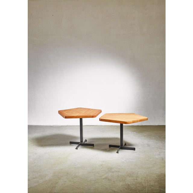 Mid-Century Modern Charlotte Perriand Pair of Pentagonal Tables, France, 1960s For Sale - Image 3 of 5