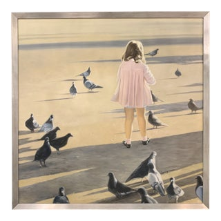 Girl on Beach Framed Painting For Sale