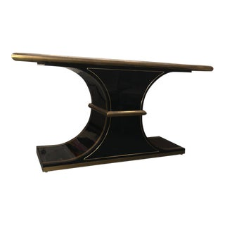 1970s Hollywood Regency Mastercraft Brass and Lacquer Console For Sale