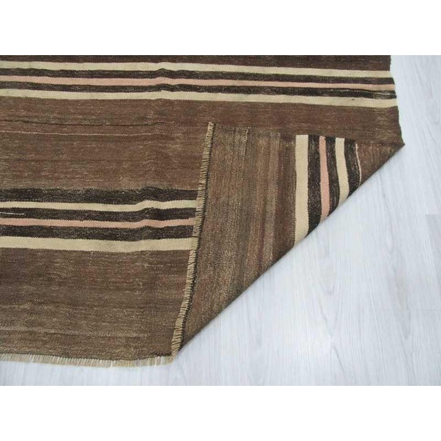 Neutral Striped Turkish Kilim Rug - 5′2″ × 11′6″ For Sale In Los Angeles - Image 6 of 6