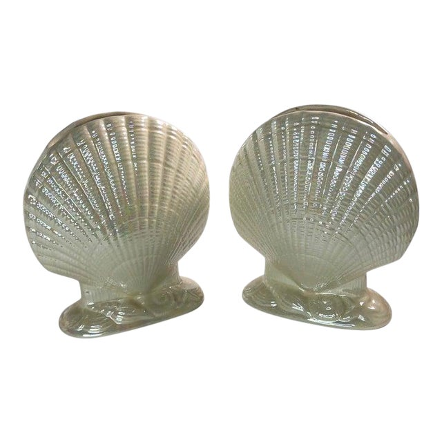 Iridescent Clam Shell Vases - Set of 2 For Sale