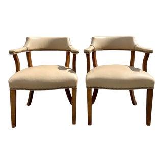 1950s Barnard & Simonds Nailhead Leather Wood Armchairs - a Pair For Sale