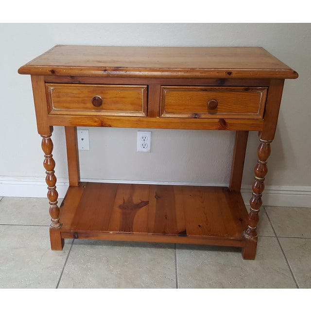 1990s Rustic Style Pine China Hutch Sideboard With Spindles - 2 Pieces For Sale - Image 5 of 12