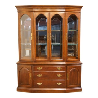 Bernhardt Furniture Solid Cherry Buffet With Illuminated Display China Cabinet For Sale