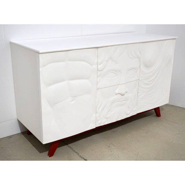White Contemporary Italian White Sideboard or Cabinet With Burgundy Wood Legs For Sale - Image 8 of 11