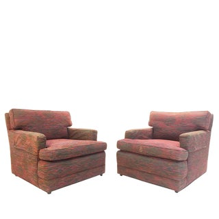 Pair Lounge Armchairs and Ottomans by Baker For Sale