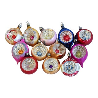 Midcentury Fancy & Colorful Christmas Ornaments W/Box - Set of 12 For Sale