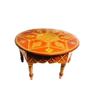 1960s Boho Chic Hand-Painted Red Wood Coffee Table