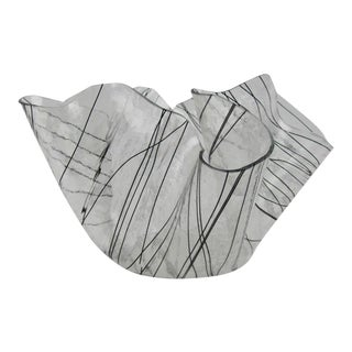 Modern Art Glass Transparent & Black Handkerchief Bowl For Sale