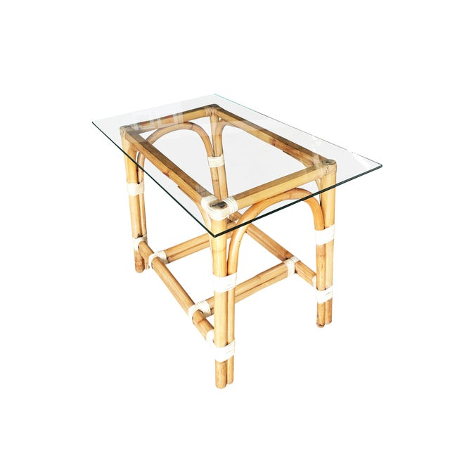 """Restored """"Swoop Arch"""" Rattan Side Table With Glass Top For Sale"""