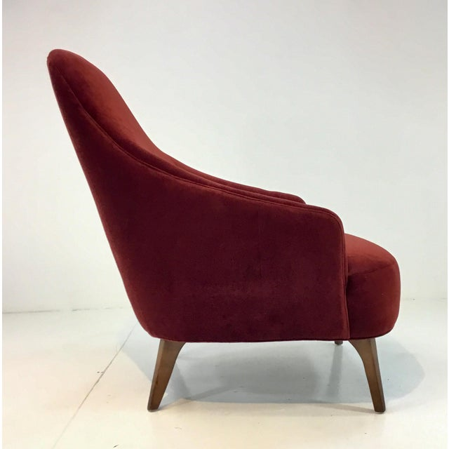 Drexel Heritage Drexel Heritage Clay Velvet Curl Club Chair For Sale - Image 4 of 6