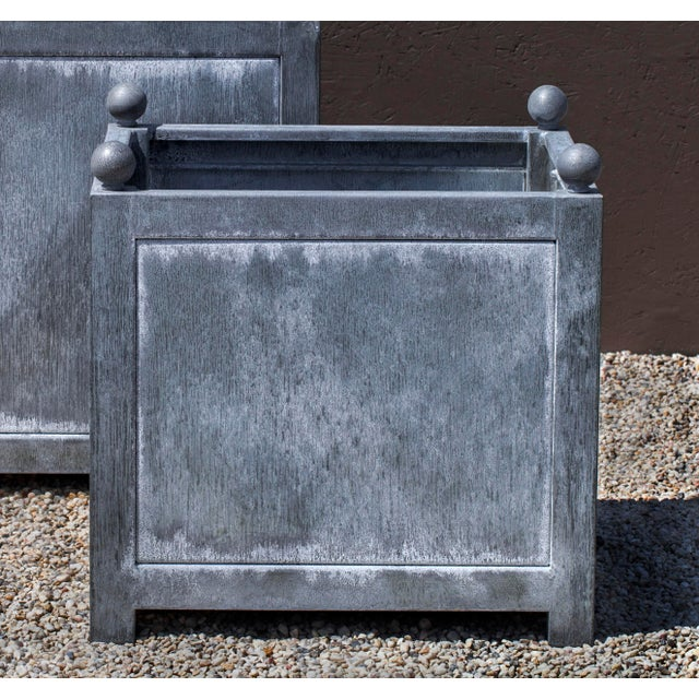 Traditional Square Norbury Planter, Small, Zinc For Sale - Image 3 of 4