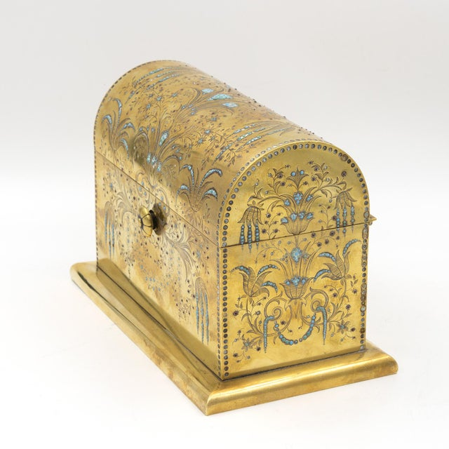 An exceptional & rare solid brass domed stationery box; etched & decorated with inlaid turquoise and garnets with...