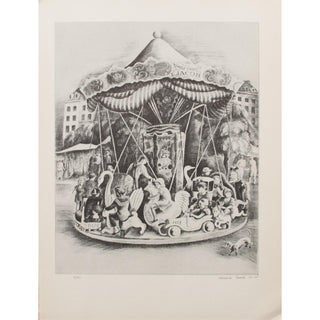 1939 Howard Cook Mary-Go-Round Original Period Lithograph For Sale