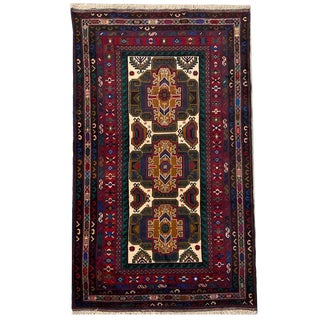 Vintage 'Baluch' Hand Knotted Red, Gray Blue, Black and Cream Carpet - 3′10″ × 6′5″ For Sale