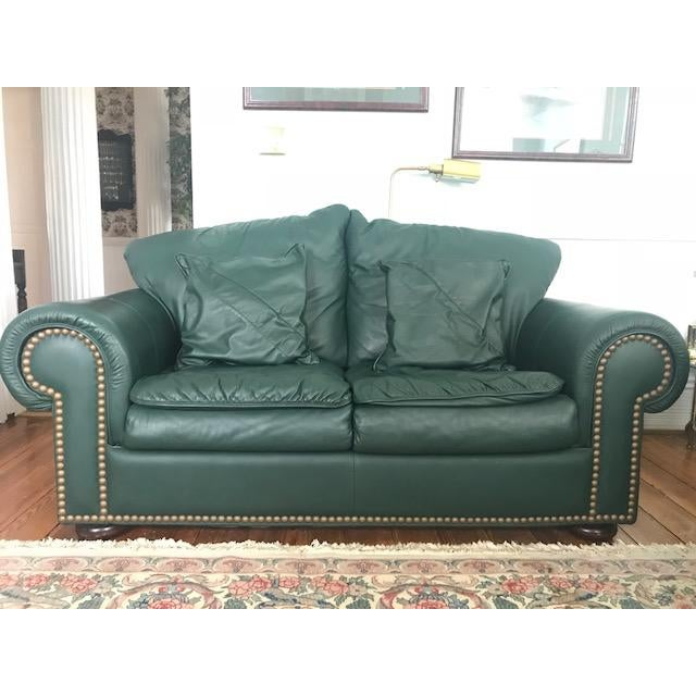 Hunter Green Leather Loveseat Chairish