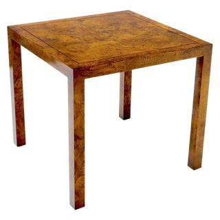 Burl Wood Mid-Century Modern Parsons Style Game Table For Sale