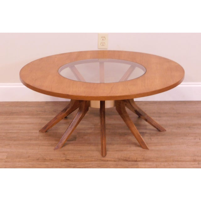 1960s Broyhill Brasilia Mid Century Modern Walnut Cathedral Coffee Table For Sale - Image 5 of 12