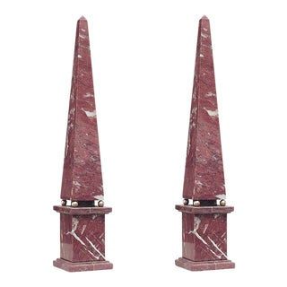 Italian Neoclassic Red Marble Obelisks - a Pair For Sale