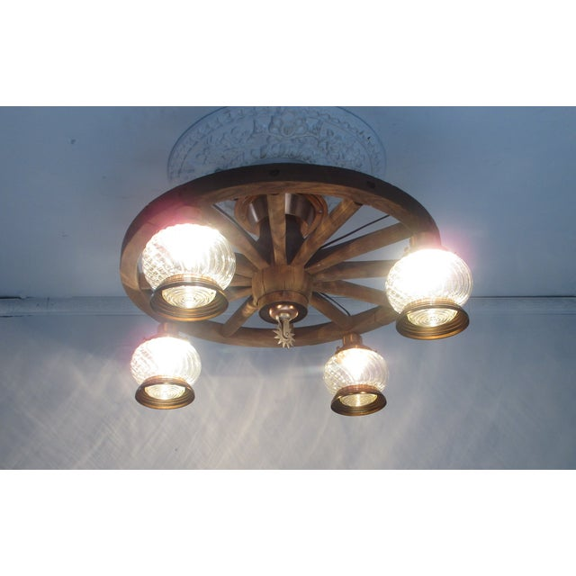 Wagon Wheel Country Western Chandelier - Image 4 of 7