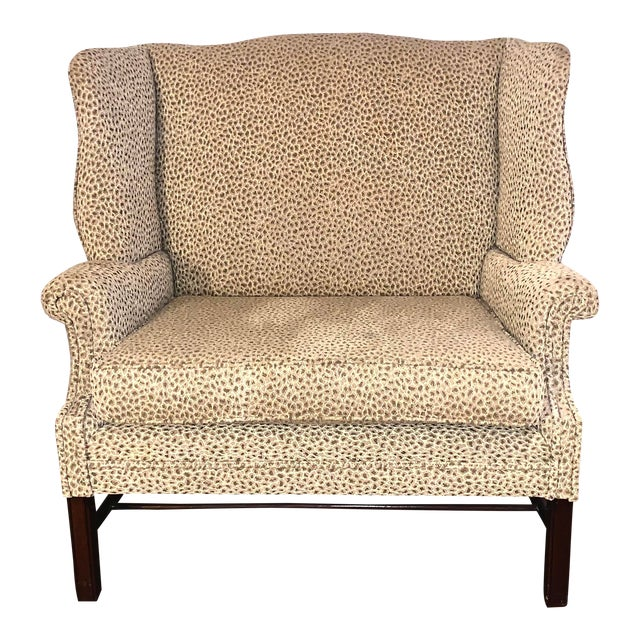 19th Century Antique Winged High-Back Settee For Sale