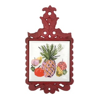 1970's Vintage Pineapple Cast Iron Tile Trivet For Sale