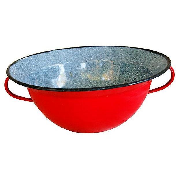 Red 1940s European Enamelware Harvest Bowl - Image 1 of 7