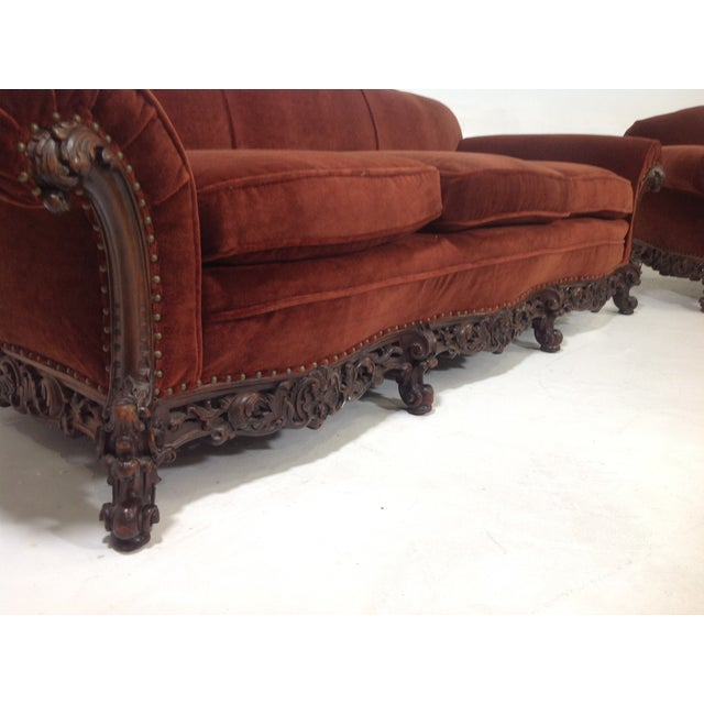 Antique Carved Walnut Mohair Sofa Image 3