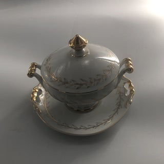 1960s Holiday Golden Laurel Lidded Cranberry Dish - a Pair Preview