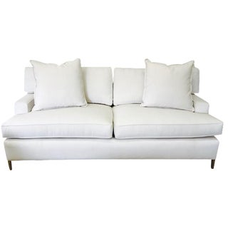 "Ivory Crypton Home Upholstered ""Tribeca Sofa"" With Brass Legs"