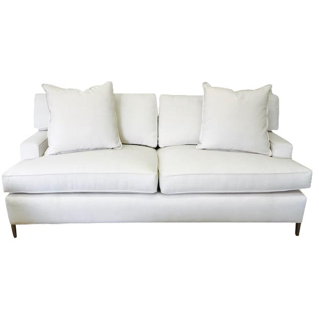 "Ivory Crypton Home Upholstered ""Tribeca Sofa"" With Brass Legs For Sale"