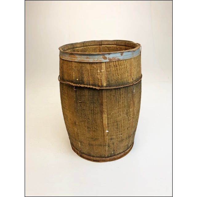 Country Vintage Rustic Banded Weathered Wood Nail Keg For Sale - Image 3 of 11