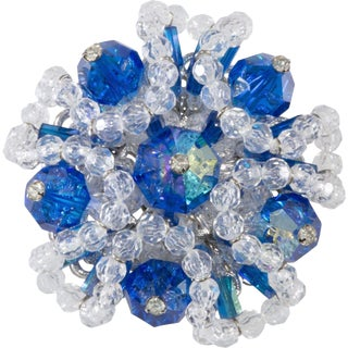 Vendome 1960s Vintage Cluster Brooch Blue & Clear Crystal Beads Prototype Rare For Sale