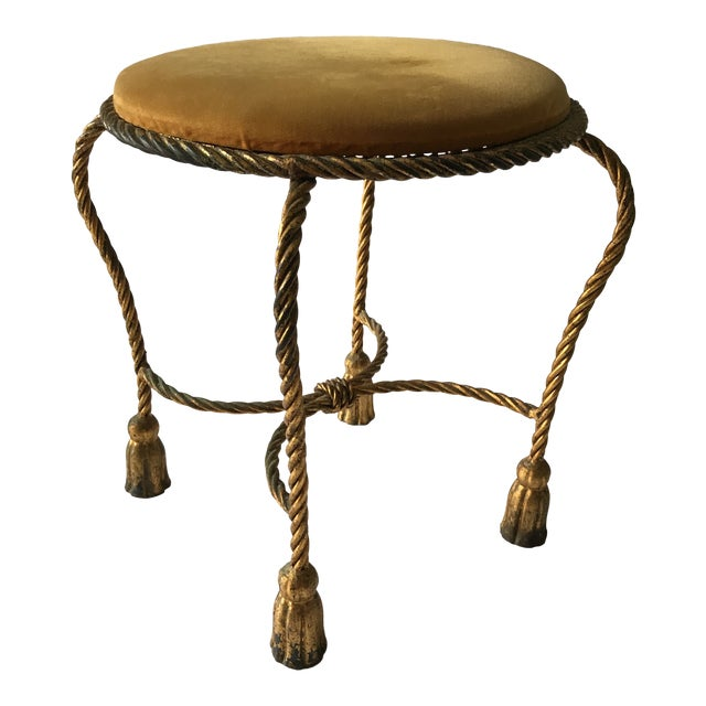 Vintage Italian Gilt Rope & Tassel Mohair Seat Stool For Sale