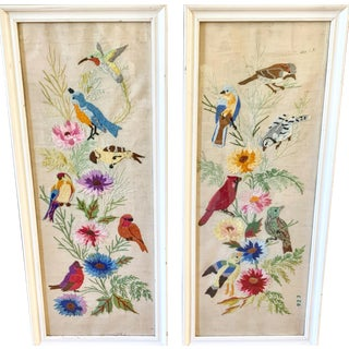 Vintage Embroidered Bird & Floral Wall Decor For Sale